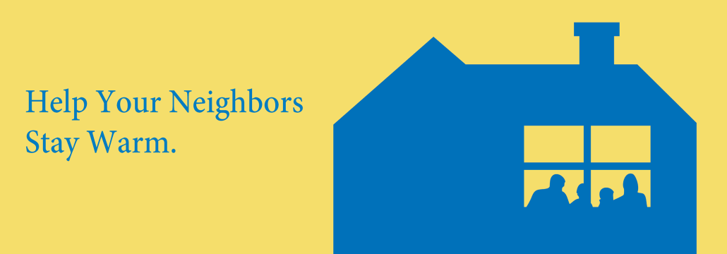Atmos Energy graphic in yellow and blue with a family in a window seated at a table.