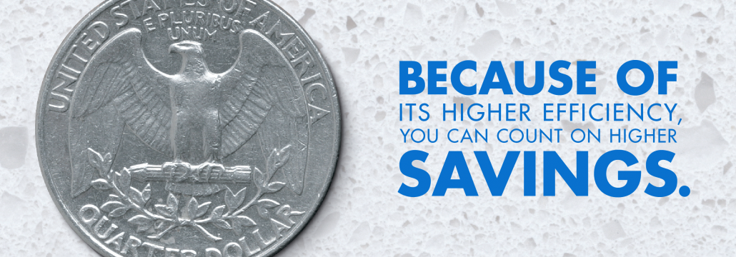 Banner image with a quarter promoting natural gas savings.