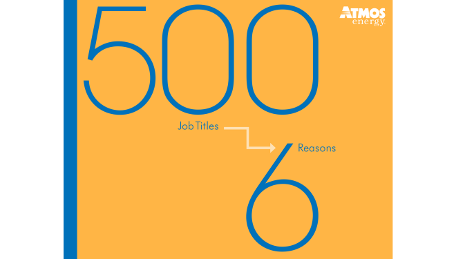"Yellow and Blue image of a brochure on the careers page titled ""500 Job Titles, 6 Reasons to Work Here"""