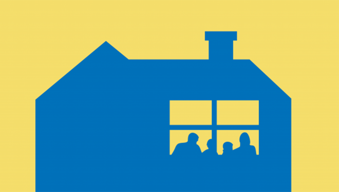 Clipart image featuring a sunny background and inviting residential home hosting a community gathering